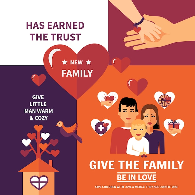 Charity adoption flat banners composition design Free Vector