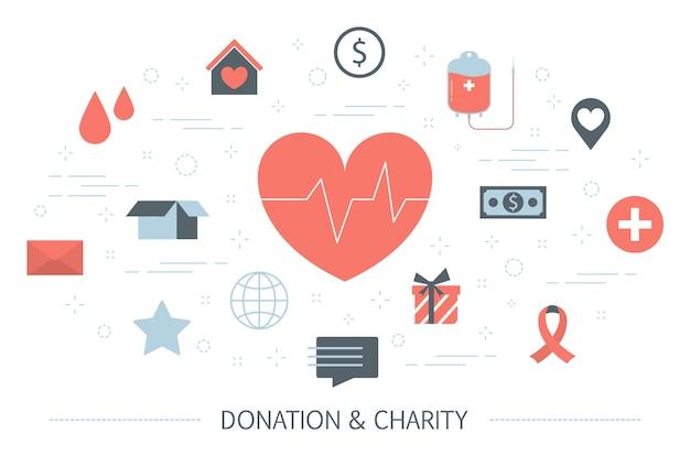 Концепция благотворительности и пожертвований. идея поддержки бедных и больных людей. деньги или кровь сдают. щедрый волонтер. набор красочных иконок. изолированная квартира Premium векторы