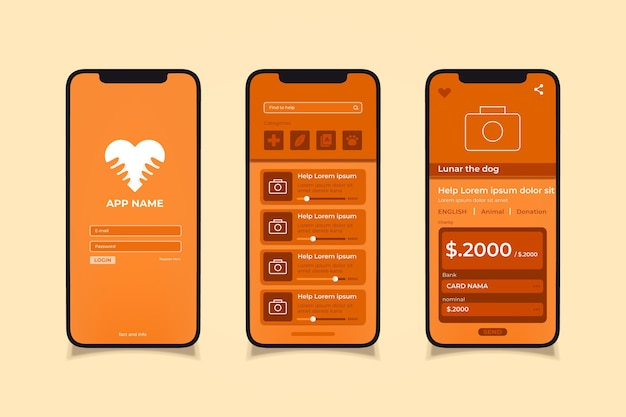 Charity app Free Vector
