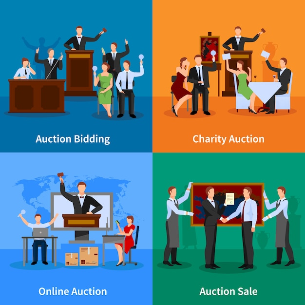 Free Vector Charity Auction Online Bidding And Sale To Highest Bidder Flat Characters