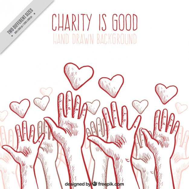 Charity background with hands and hearts Free Vector