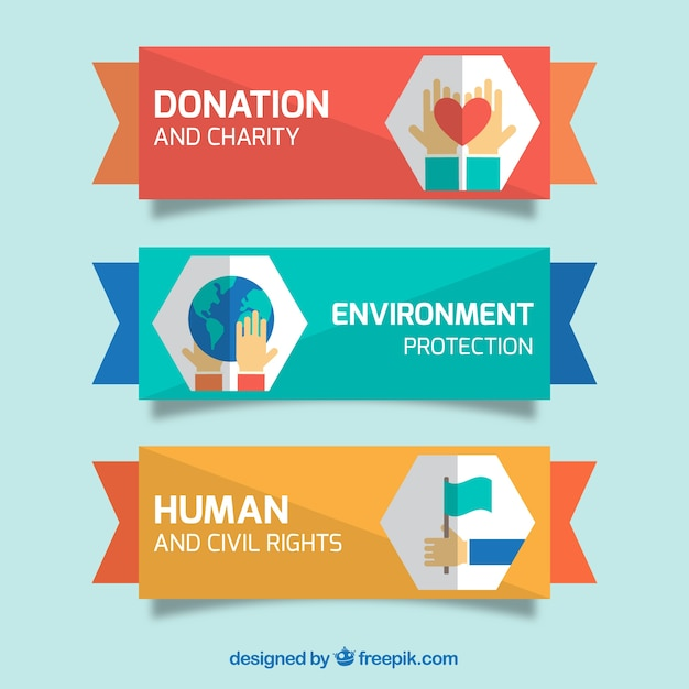 Charity banners set in flat design Free Vector