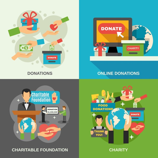 Charity concept icons set Free Vector