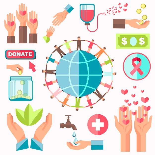 Charity concept vector set Premium Vector