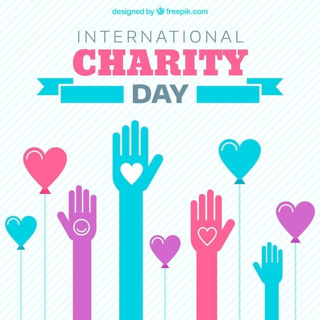 Charity day with hands and hearts