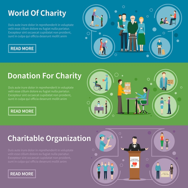 Charity donation banners Free Vector
