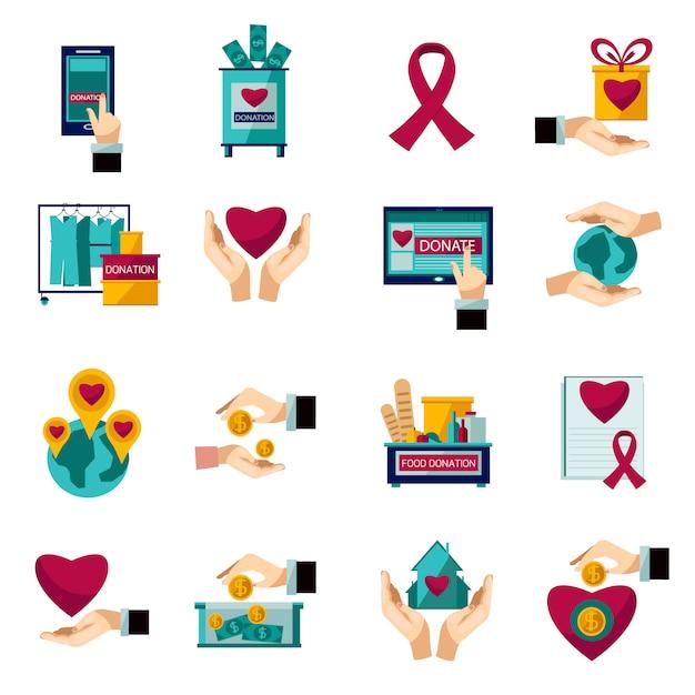 Установить благотворительные пожертвования плоские иконки Бесплатные векторы