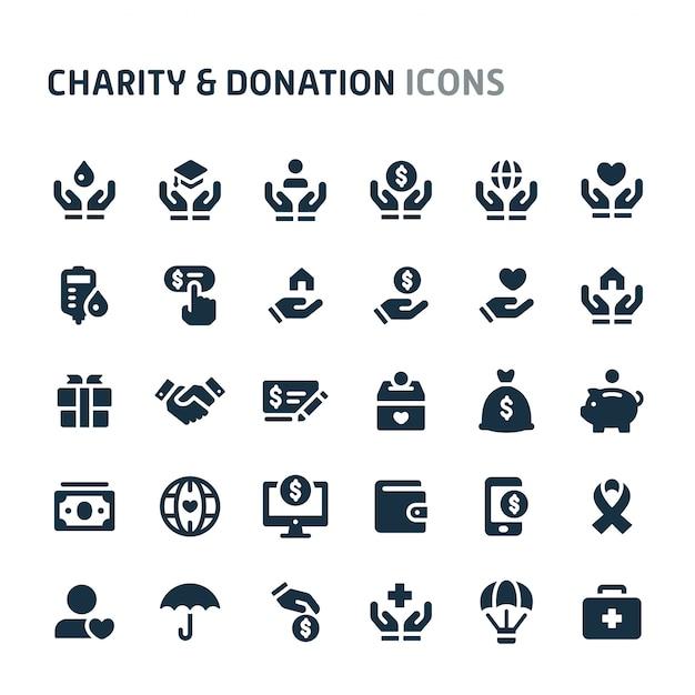 Charity & donation icon set. fillio black icon series. Premium Vector