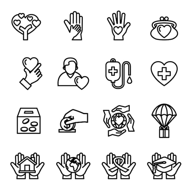 Charity and donation icon set with white background. Premium Vector