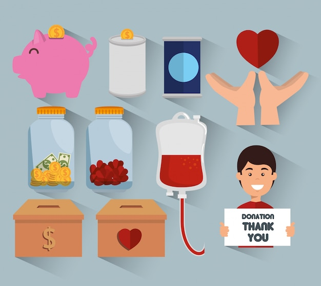 Charity donation icon set Free Vector