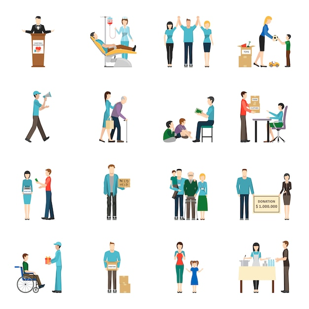 Charity donation icons set Free Vector
