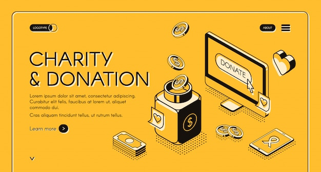 Charity and donation illustration in isometric line design on yellow halftone background. Free Vector