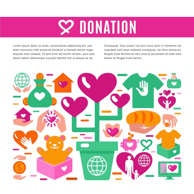 Charity donation information page Premium Vector