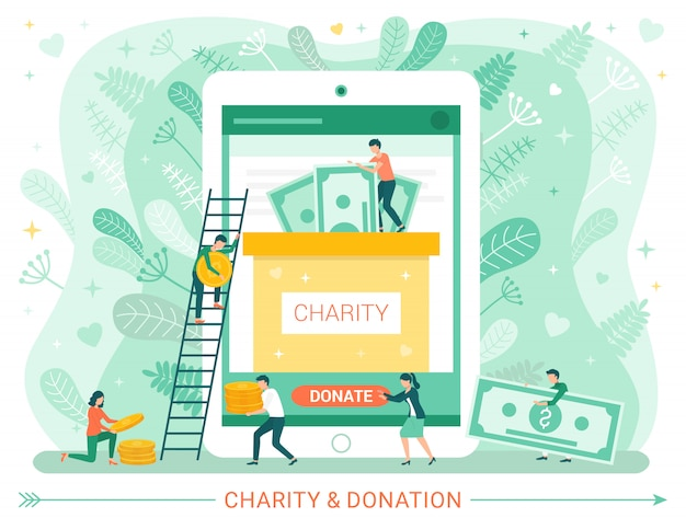 Charity donation web poster, people donate money Premium Vector