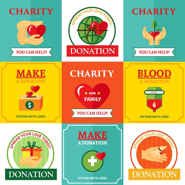 Charity emblems design flat composition Free Vector