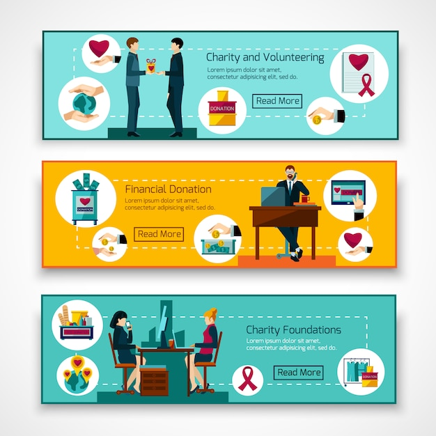Charity foundations 3 flat banners set Free Vector