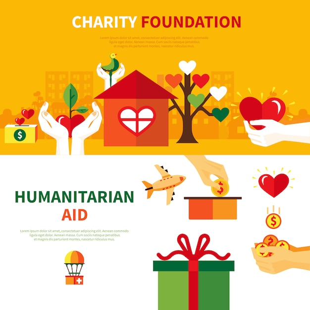 Charity foundations flat banners set Premium Vector