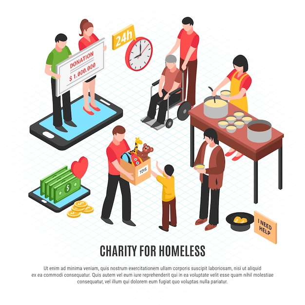 Charity for homeless template Free Vector