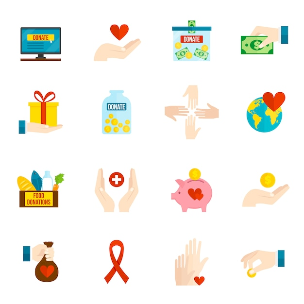 Charity icons flat set Free Vector