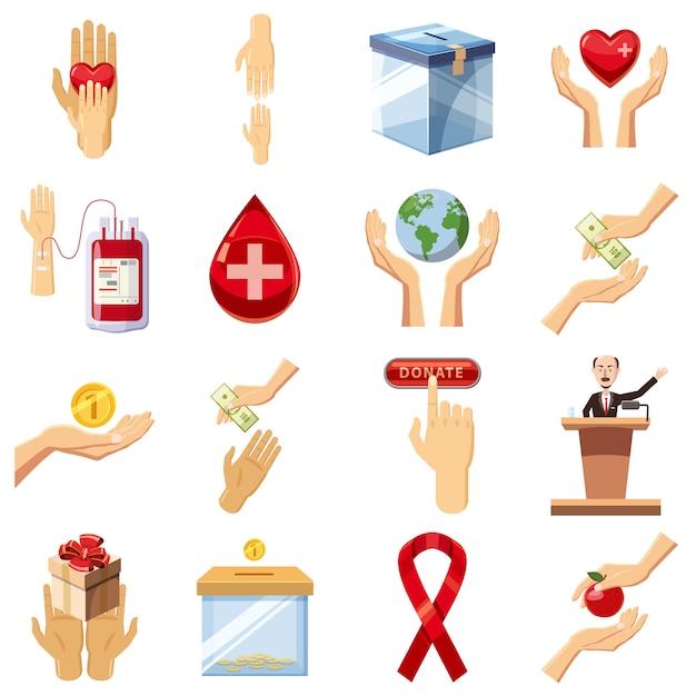 Charity icons set, cartoon style Premium Vector