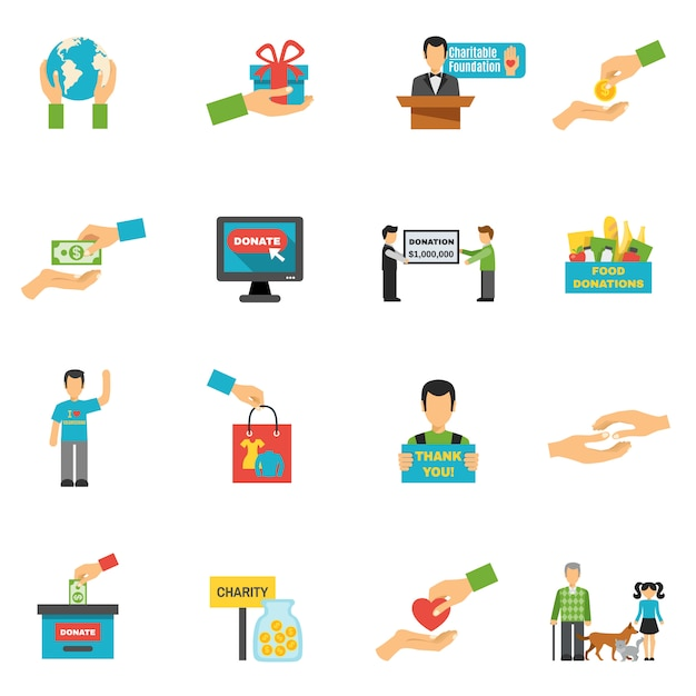 Charity icons set Free Vector