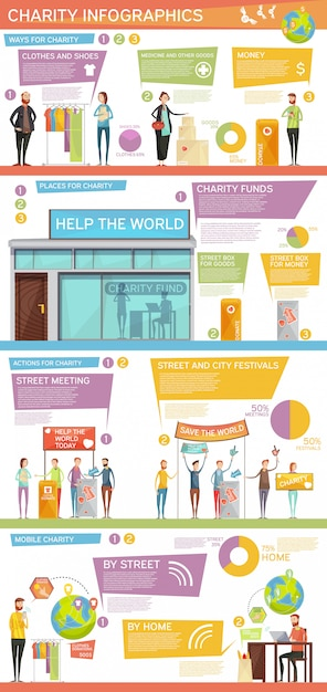 Charity infographics flat layout Free Vector