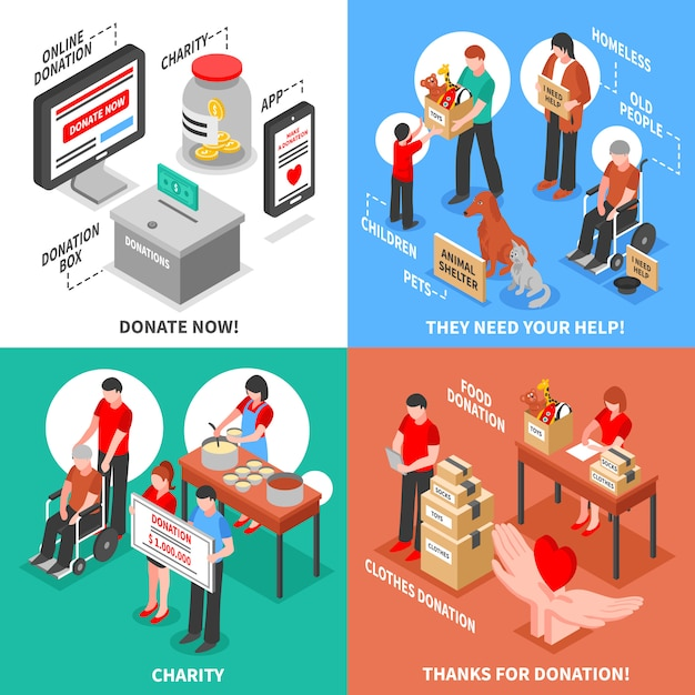 Charity isometric 2x2 design concept Free Vector