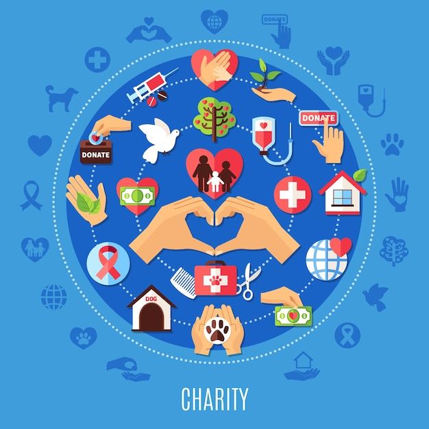 Благотворительная круглая композиция с набором изолированных значков пожертвований в стиле эмодзи и декоративных символов с силуэтами Бесплатные векторы
