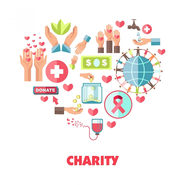 Charity themed composition in big heart shape Premium Vector