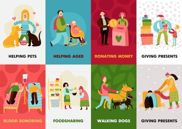 Carte di beneficenza impostate con regali che donano sangue ai cani che camminano che aiutano le composizioni invecchiate Vettore gratuito