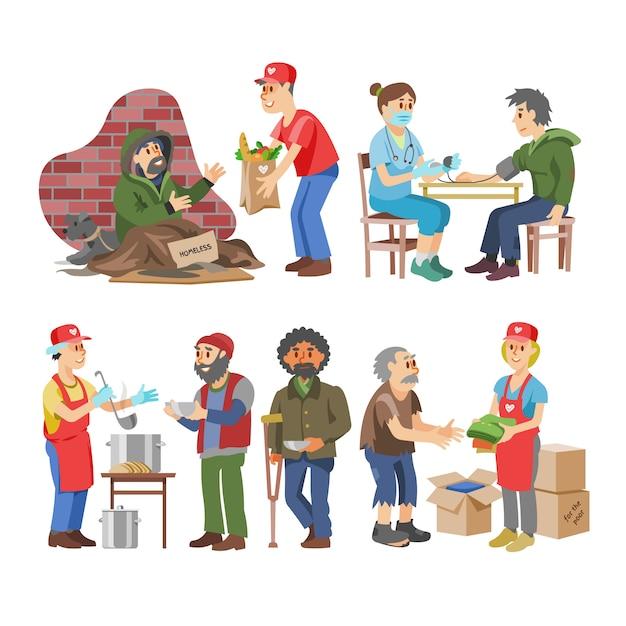 Благотворительные добровольные люди, заботящиеся о пожилых инвалидах или слепых персонажах, и добровольные пожертвования или иллюстрации для социального обеспечения устанавливают добровольное социальное сообщество на белом фоне Premium векторы