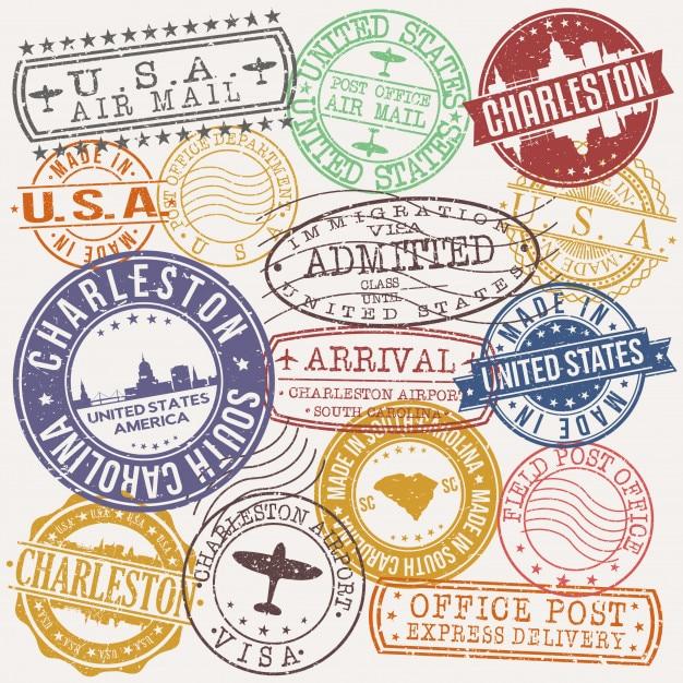 Charleston south carolina postal passport quality stamp Premium Vector