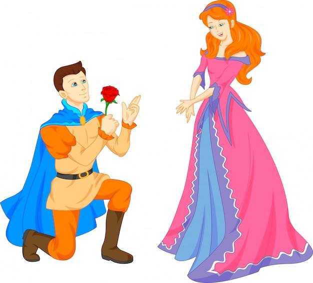 Charming prince and beautiful princess Premium Vector