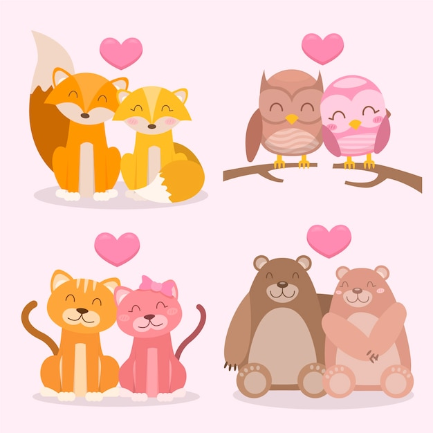 Charming valentine's day animal couple Free Vector