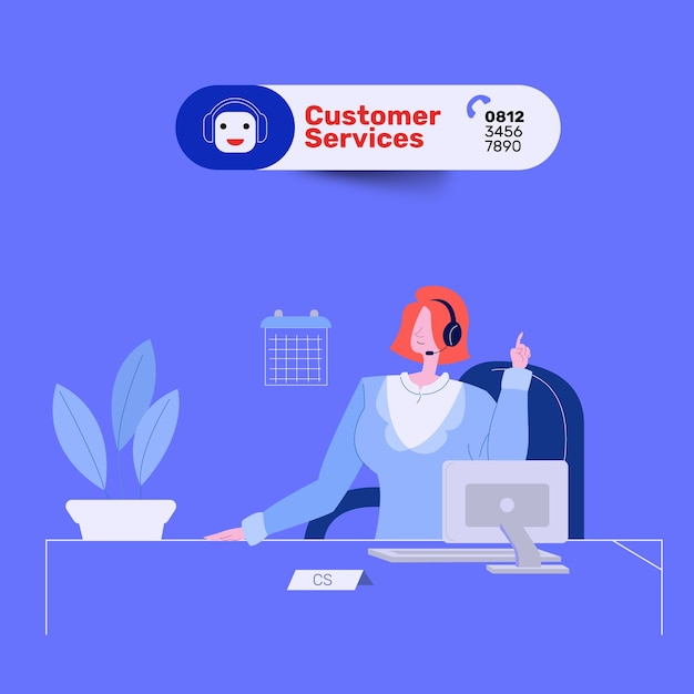 Charming woman customer service in office Premium Vector
