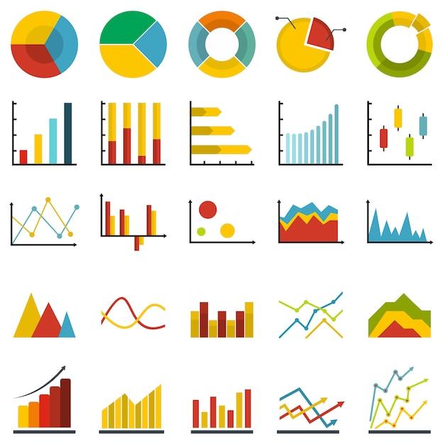 Chart diagram icon set isolated Premium Vector