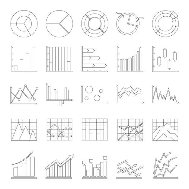 Chart diagram icon set Premium Vector