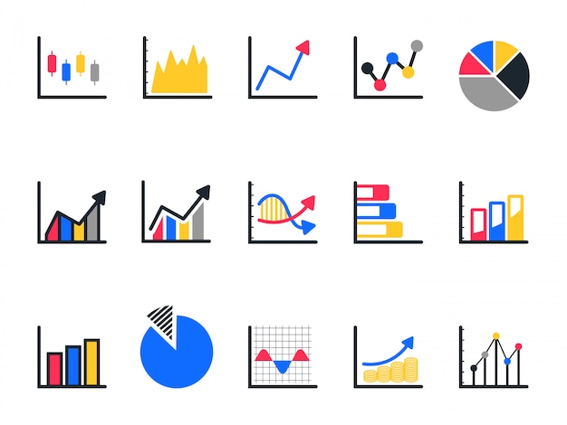 Chart and graph icon set, pie chart icon. Premium Vector