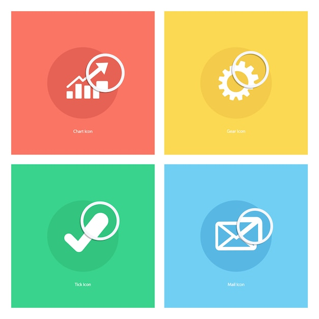 Chart icon, gear icon, tick icon, mail icon with magnifying glass. Premium Vector