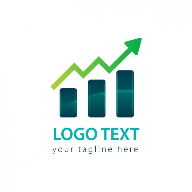 Chart logo with a arrow Free Vector