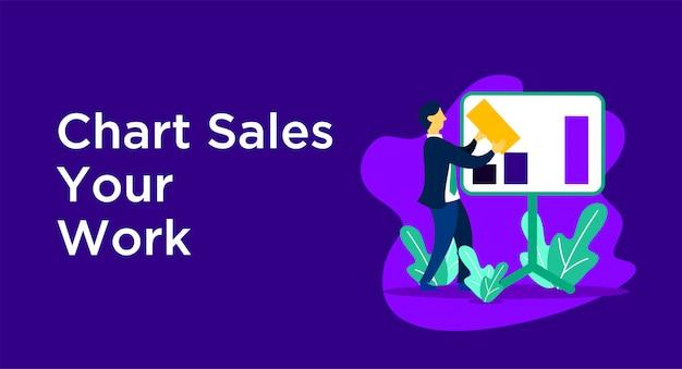 Chart sales business illustration Premium Vector