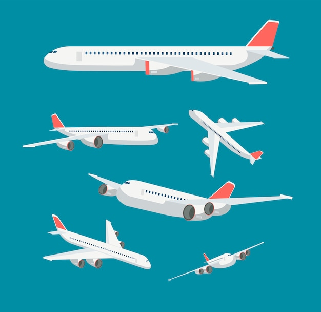 Charter flat airplane in various point of view. civil aircraft journey and aviation vector symbols isolated Premium Vector