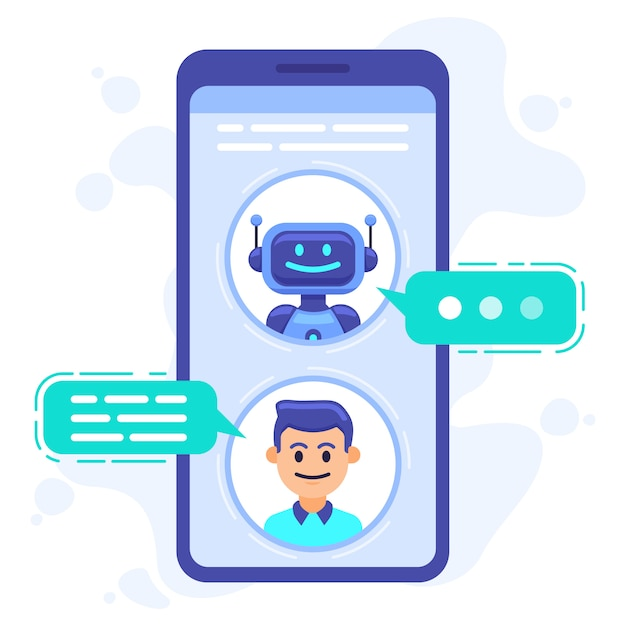 Chat bot communication. smartphone chatting with conversation bot, chat assistant bot at cellphone screen, robots sms dialog  illustration. robot communication conversation chatting Premium Vector