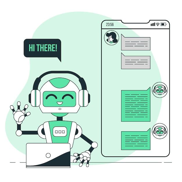 チャットボットの概念図 無料ベクター