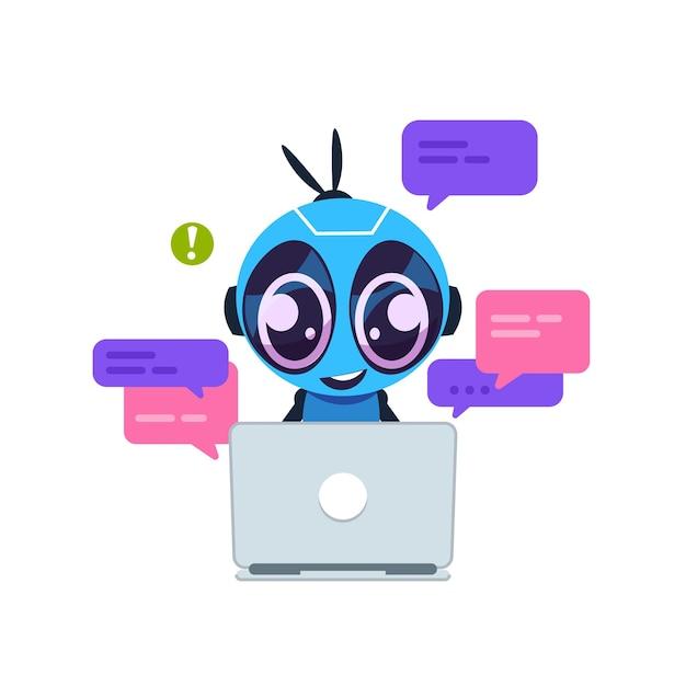 Чат-бот. симпатичный мультяшный робот с искусственным интеллектом, личным помощником и концепцией виртуальной службы поддержки. центр поддержки клиентов Premium векторы