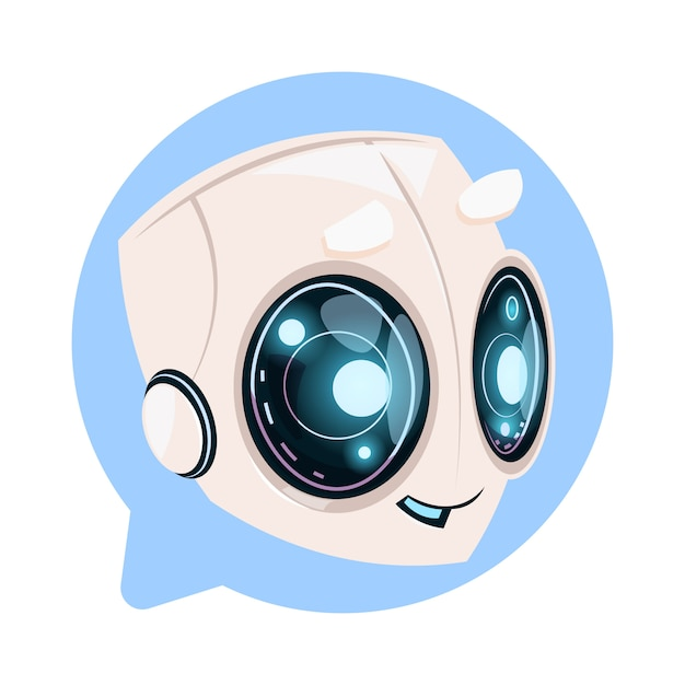 Chat bot cute in speech bubble icon concept of chatbot or chatterbot technology Premium Vector