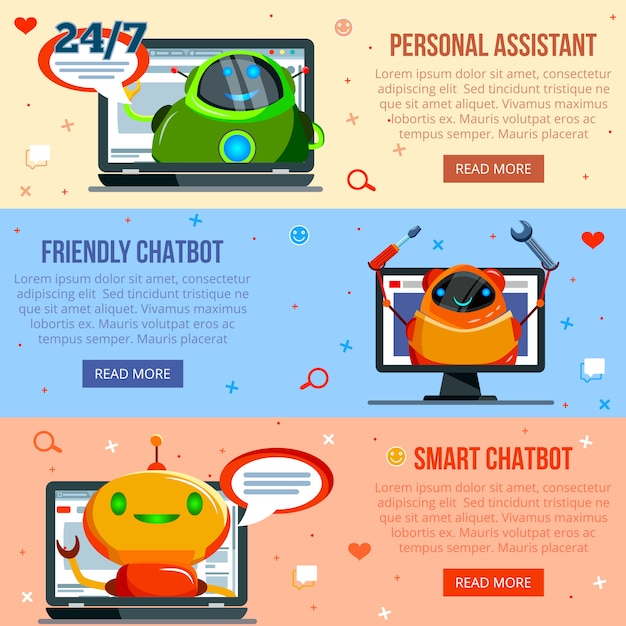 Chat bot flat banners Free Vector