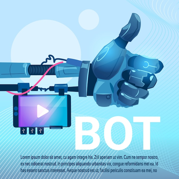 Chat bot free robot virtual assistance of website or mobile applications, artificial intelligence co Premium Vector