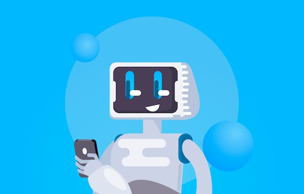 Chat bot free wallpaper. the robot holds the phone, responds to messages. Free Vector