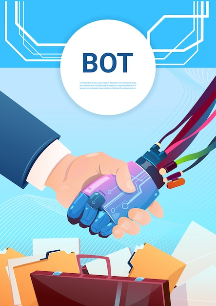 Chat bot hand shaking with people robot virtual assistance of website or mobile applications, artifi Premium Vector
